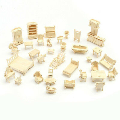 34 Pcs/Set 3D Wooden Miniature Puzzle Dollhouse Furniture Model Mini Puzzle Toys