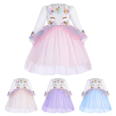 Flower Girl Dress Unicorn Costume Christmas Party Birthday Cosplay Fancy Dresses