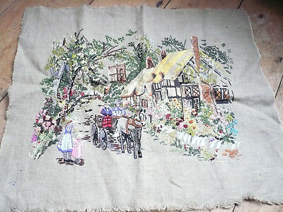 VINTAGE LINEN HAND EMBROIDERED PICTURE PANEL Cottage Scene