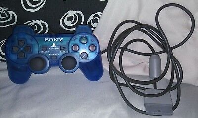 Official Sony Playstation 1 DualShock Controller Clear Blue 2 PS1 PS2 OEM