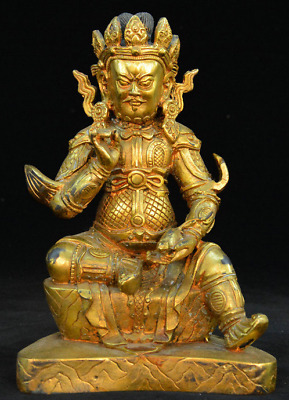 Old Tibet Buddhism Temple Bronze Gilt Yellow Jambhala Wealth God Buddhas Statue