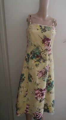 Jesire Ladies Yellow Floral Lined Dress Bandeau Neck Wedding 24% Silk UK Size 8