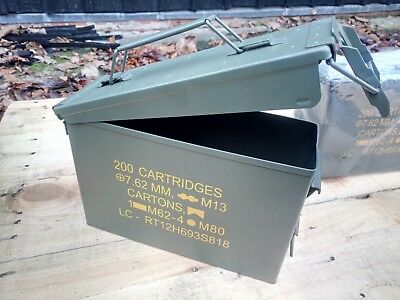 NEW 30 Cal Ammo Box NATO - Waterproof Army Storage Tool Container - Steel Olive