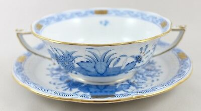 Herend Porcelain Indian Basket Blue Fb Cream Soup Coupe/cup & Saucer 743  1St