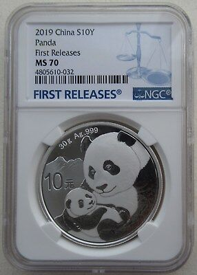 NGC MS70 First Releases China 2019 Panda Silver Coin 30g 10 Yuan Blue Lable