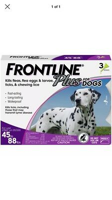 New Frontline Plus For Dogs 45 To 88 Lbs 3 Doses 3 Month Supply Free Shipping