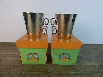 Pair Of Vintage Shanghai Tang Chinese Oriental Silver Plate Cups With Box.