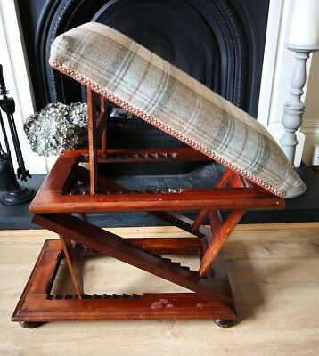 Antique Georgian Mahogany 3 Tier Adjustable Gout Stool by Wilkinson Ludgate Hill