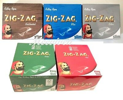 Zig Zag Green, Red King Size Blue, Silver, Unbleached Slim Smoking Rolling Paper