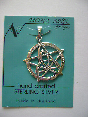 Sterling Silver Pentagram In Circle With Trinity Knot Pendant New