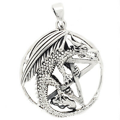 Sterling Silver Dragon In Circle With Pentagram Design Pendant New
