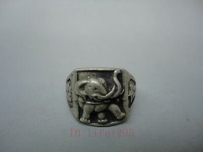 Collect Old China Tibet Silver Handmade Auspicious Elephant Statue Rings Pendant