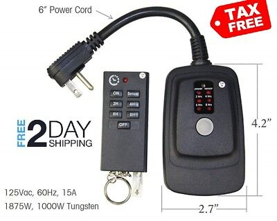 Outdoor Plug In Timer Switch Photocell Sensor Weatherproof Two Outlet ECOPlugs