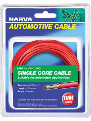Narva 15A 4mm Red Single Core Cable 10M (5814-10RD)