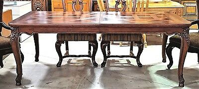 Henredon French Provincial Style Carved Mahogany Burl Wood Dining Table