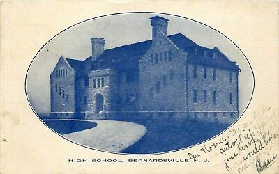1906 New Jersey Photo Postcard: High School View In Bernardsville, Nj