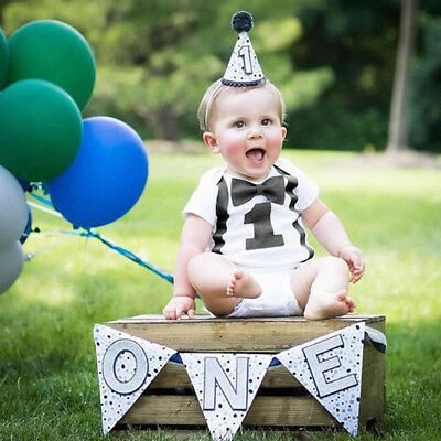 Baby Boys My First 1st Birthday Party Gentleman Bow Tie Romper Jumpsuit Outfits