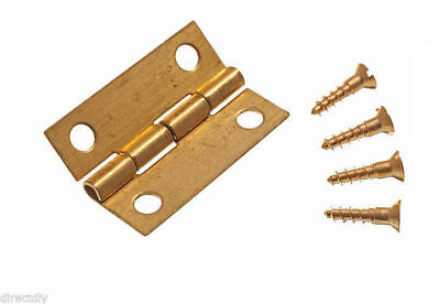 6 Pairs ( 12 ) Solid Brass Jewelry Box Mini Hinges 1 Inch 25Mm Pins Included