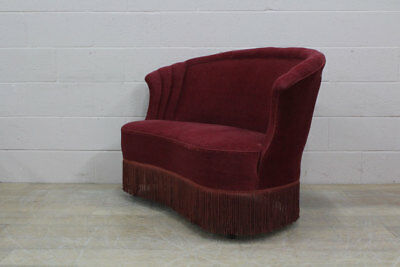 Original Vintage Danish Early Midcentury Two Seater Sofa with Fringing