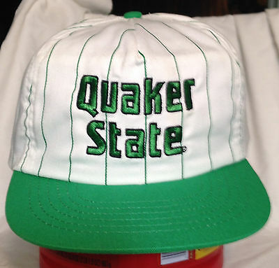 e544465136a Vintage Quaker State Oil Snapback Cap Pinstripe Trucker Hat racing nascar  New