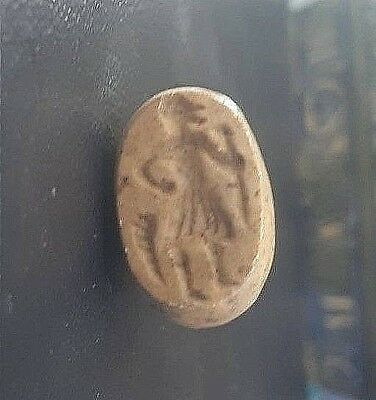 ANCIENT Intaglio Agate THOTH Egypt God of Knowledge Ibis Head Signet Stamp Bead