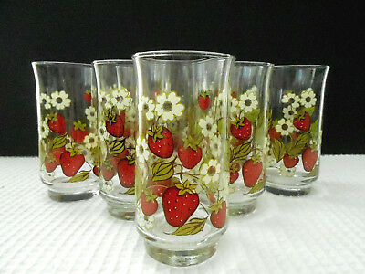 Anchor Hocking Marked Triguba 8 Strawberry Blossom Drinking Glasses Preowned