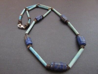 NILE  Ancient Egyptian Lapis Amulet Mummy Bead Necklace ca 600 BC