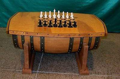 Vintage Ca Wine Barrel Chess Board Game Table Storage Chest Man Cave Christmas!