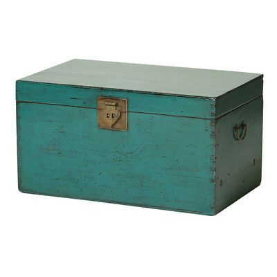 Vintage Turquoise Chinese Trunk from Beijing