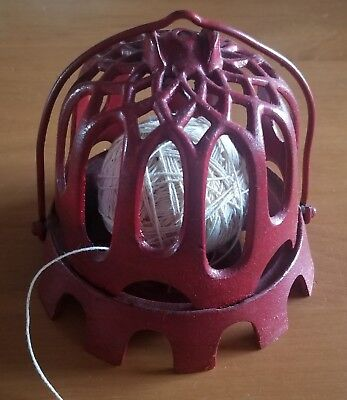 "Antique RARE RED ""String Holder"" Cast Iron Mercantile General Store Collectible"