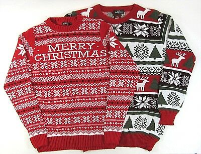 Adults Mens Womens Novelty Nordic Knit Merry Christmas Jumper Xmas Sweater Red