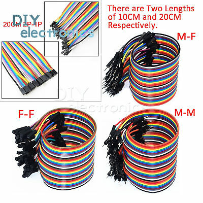40PCS Dupont Wire Jumper Cable 2.54mm 1P-1P Male to Female 10CM/20CM/30CM