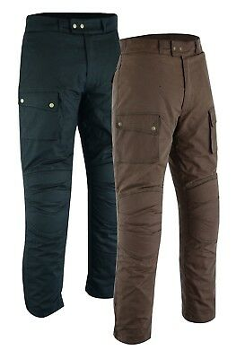 Warrior New Mens Motorcycle Waxed Cotton Ce Armour Bikers Cotton Waxed Trouser