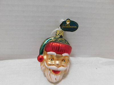 Christborn Santa Head tree Ornament Mouth Blown Hand Painted Germany