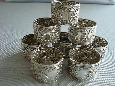 KIRK sterling silver ~  SET OF NAPKIN RINGS #28 ~ REPOUSSE ~ FABULOUS!