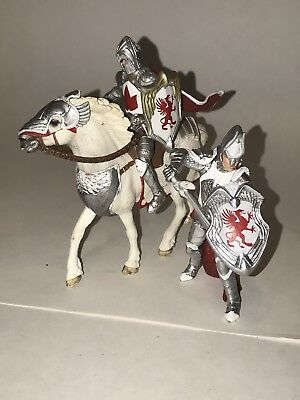 SCHLEICH Lot of 2 KNIGHTS & HORSE Red Griffin White Silver 2012 Figures Medieval