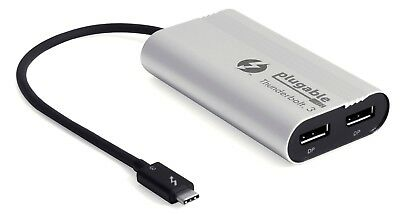 Plugable Thunderbolt 3 Dual Monitor Adapter - USB-C to DP for Mac and Windows