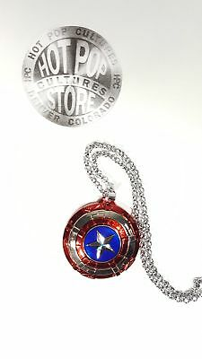 Captain America Shield Necklace Rotatable Pendant Stainless Steel Chain Hot Pop