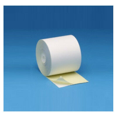 """3"""" x 90' 2-ply Carbonless White/Canary Receipt Paper Rolls, 50 rolls/case"""