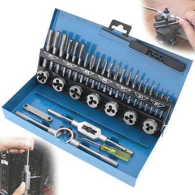 32Pcs M3-M12 Tap And Die Set Metric Wrench Cut Bolts Engineer Kit w/ Metal Case