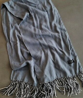 Vtg TOOTAL ENGLAND Mens Scarf Gray Swiss Dot Knotted Black White Fringe Rayon