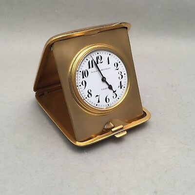 Black Starr & Frost Gilt and Sterling Traveling Clock