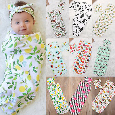 Newborn Infant Baby Swaddle Wrap Bedding Blanket Cotton Sleeping Bag Headband UK