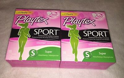 (2) Playtex Sport Super Absorbency Tampons Unscented 18 ct (36 tot.) NEW