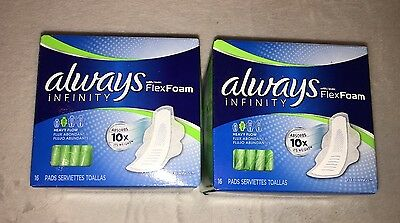 (2) 16 count Always Infinity Flex Foam Heavy Flow Super Pads with wings 32 total