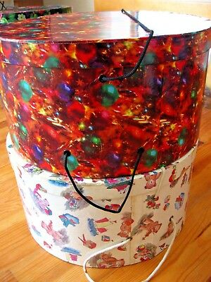Two Large Vintage Hatboxes Exc. Condition. One Festive, One Teddies.