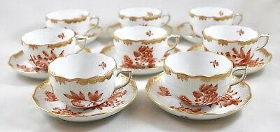 Herend Porcelain Fortuna Rust Vboh Tea Cups & Saucers X 8 734 1St Mint!