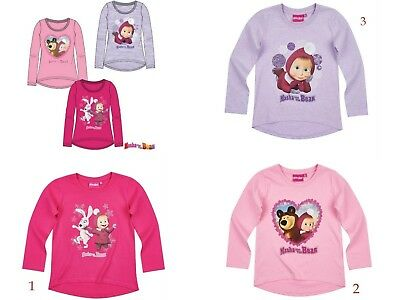 Girls Children Masha and the Bear Long Sleeve Tee Tshirt Top Age 2-8 yrs