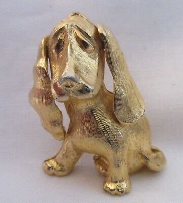 Monet Basset Hound Pin Brooch Signed Gold Tone Dog Vintage