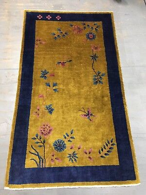 Old Antique Art Deco Nikols Chinese Rug 6.11x4 Ft